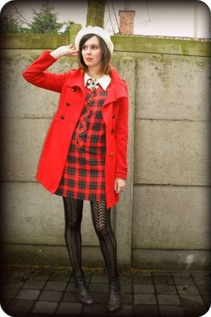 black boots - red dress - red coat - ivory hat