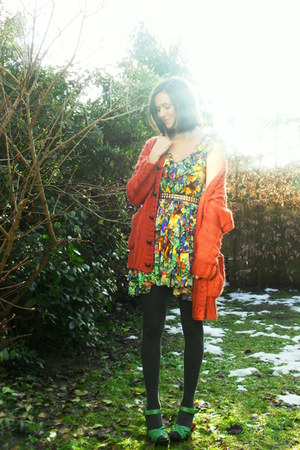 gold dress - burnt orange cardigan - dark gray tights - chartreuse clogs - silve