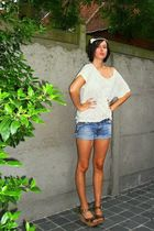 white H&M top - blue Diesel shorts - brown texto shoes - white H&M accessories -