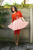 light pink dress - tawny sweater - ruby red tights - light brown boots