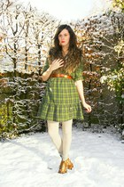 beige socks - bronze shoes - olive green dress - off white tights - bronze scarf