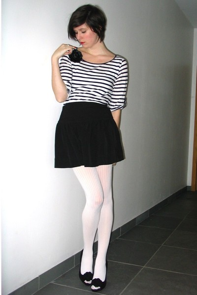 black skirt - white tights - white top - black accessories