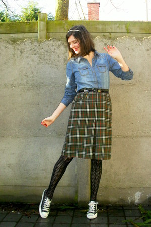 sky blue blouse - army green skirt - black tights - black sneakers - white acces