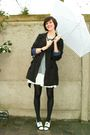 Black-coat-blue-dress-white-shoes-blue-necklace-blue-cardigan-black-br