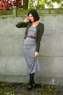 Green-cardigan-gray-dress-black-tights-brown-clogs-brown-belt