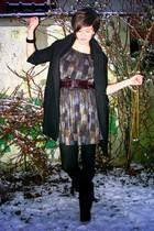 silver dress - black coat - purple belt - black boots - black necklace - silver