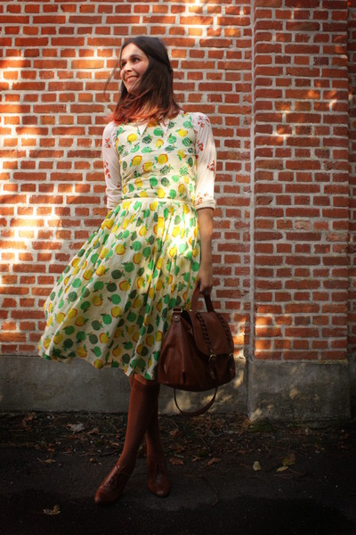 lime green dress - light orange blouse - burnt orange accessories