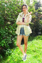 tan coat - sky blue shorts - ivory blouse - black sneakers - red glasses