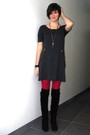 Pink-tights-black-boots-gray-dress-silver-necklace-black-bracelet-blac