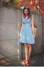 Sky-blue-dress-red-clogs-cream-accessories