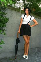black skirt - white shoes - black hat - white blouse - black accessories