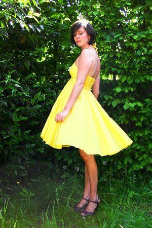 yellow dress - purple shoes