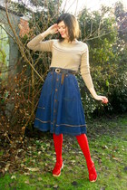 red clogs - camel sweater - red tights - navy skirt - dark brown belt