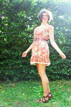 orange Mango dress - brown Esprit belt - brown H&M shoes
