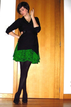 green dress - black sweater - black tights - black shoes - gold necklace
