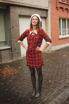 red dress - dark gray boots - black tights - cream accessories