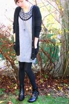 gray H&M dress - black Zara sweater - black tights - black new look boots - silv