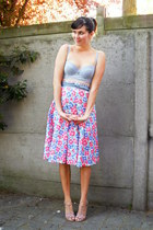 bubble gum skirt - light blue bra - light pink wedges
