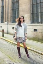 dark brown thrifted vintage boots - beige Zara cardigan