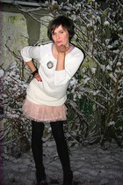 pink skirt - white sweater - black boots - black tights - silver accessories