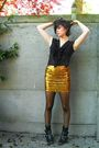 Gold-skirt-black-blouse-black-boots-black-bra-black-tights