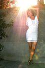 White-dress-black-shoes-silver