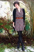 brown dress - black boots - brown belt - black cardigan