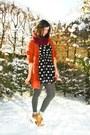 Tawny-cardigan-maroon-scarf-bronze-boots-black-dress-gray-tights-off-w