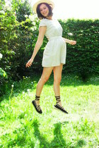 off white dress - light yellow hat - black espadrilles flats