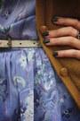 Camel-shoes-violet-dress-neutral-socks-mustard-cardigan