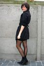 Black-dress-black-coat-black-boots-black-tights-black-skirt-silver-nec