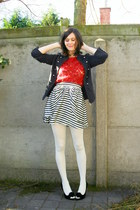 navy jacket - off white tights - ruby red top - ivory skirt - black heels