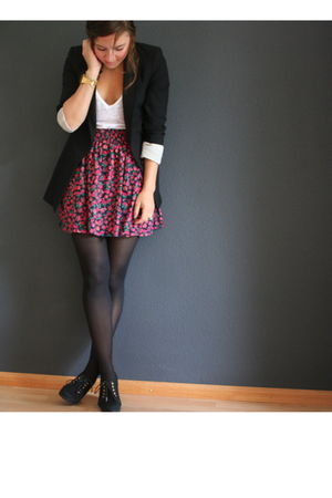 red Zara skirt - black Zara blazer - white Zara t-shirt - gold Casio watch acces