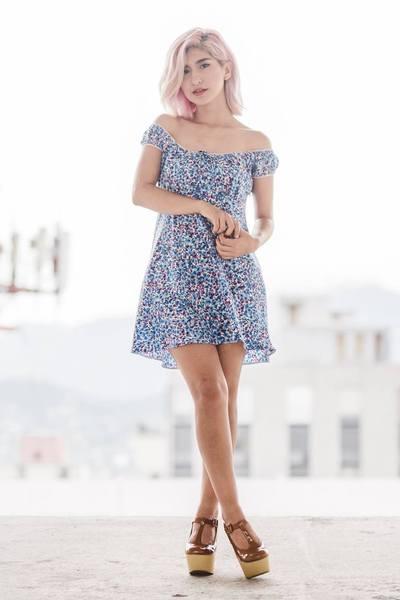 sky blue Midori Love dress - brown Biography heels