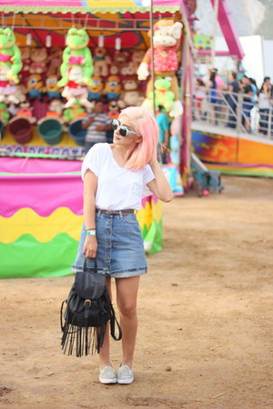 black bag - aquamarine sunglasses - brown sneakers - sky blue skirt