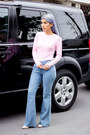 Sky-blue-flare-jeans-jeans-bubble-gum-top-light-pink-pumps
