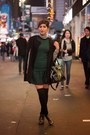 Dark-green-low-waist-zara-dress-black-michael-kors-bag-black-coat-cape