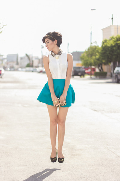 turquoise blue Forever 21 skirt - ivory Mapple Tree shirt - black OShoes flats