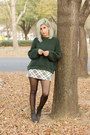 Black-glitter-booties-zara-boots-forest-green-pull-bear-sweater