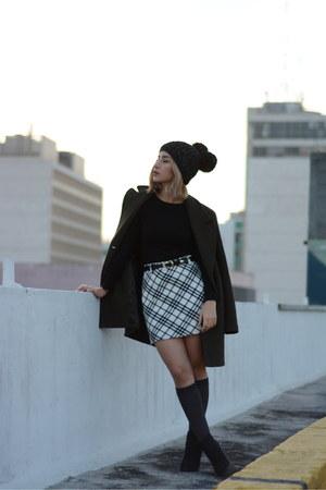 black Zara boots - black beanie hat - dark gray socks