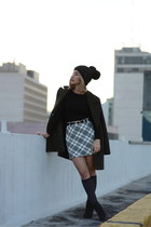 black Zara boots - black beanie hat - dark gray socks