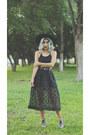 Black-forever-21-hat-black-cropped-bershka-top-black-unknown-skirt