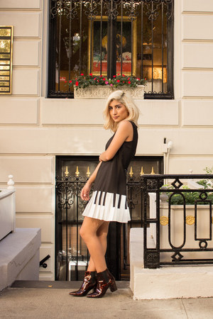 black piano Aliexpress dress - brown pattern Zara boots