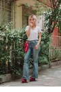 Blue-flare-vintage-jeans-ruby-red-no-brand-scarf-white-no-brand-t-shirt