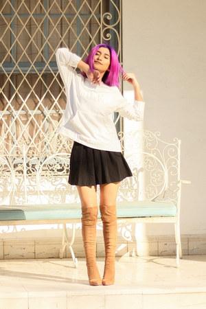 white pull&bear sweater - camel Andrea boots - black Forever 21 skirt