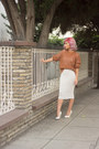 Bronze-pull-bear-sweater-ivory-forever-21-skirt-white-charlotte-russe-heels