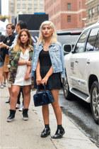 black shoes - sky blue Gap jacket - blue metallic Aldo bag