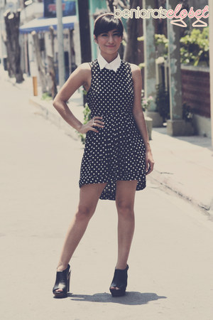 black polka dot dress dress