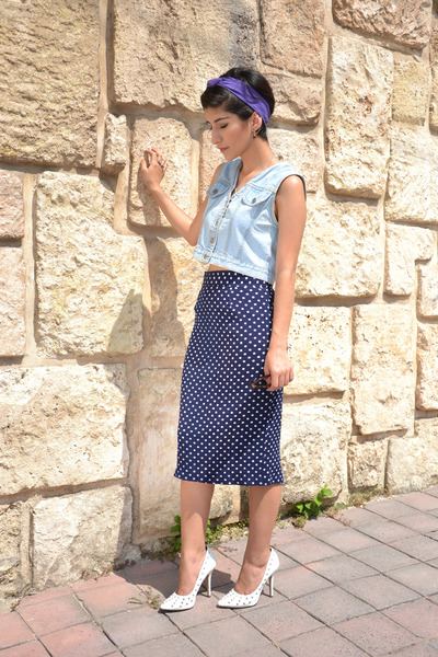 denim vintage vest - vintage skirt - spike Charlotte Russe pumps