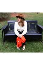 paprika H&M scarf - felt Goorin Brothers hat - embellished Target sweater